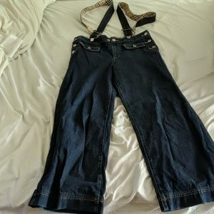 Burberry flared jeans with shoulder straps
